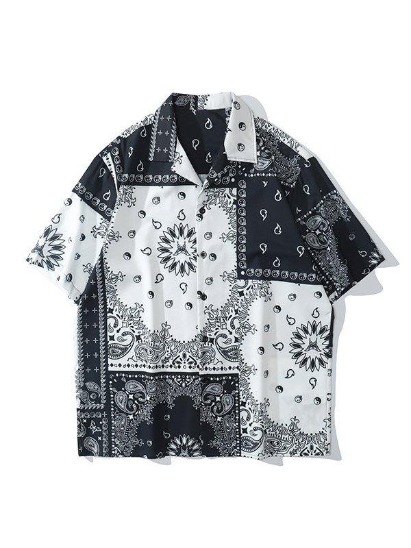 Chemise à manches courtes à imprimé cachemire pour hommes - Noir M