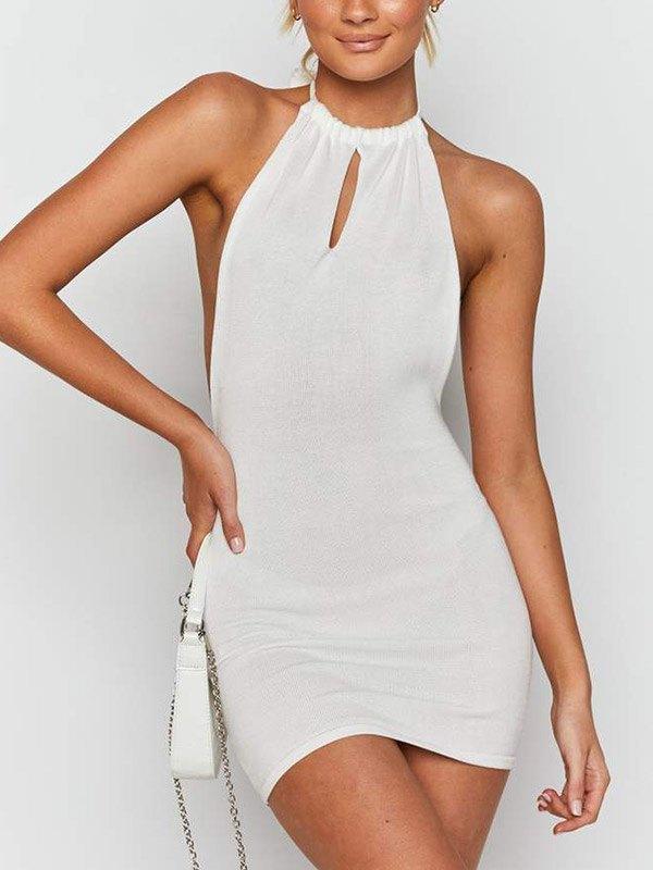 Cutout Halter Mini Dress - White S