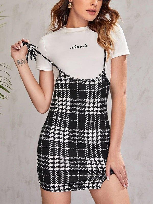 Lace-Up Strap Plaid Mini Skirt - Black S