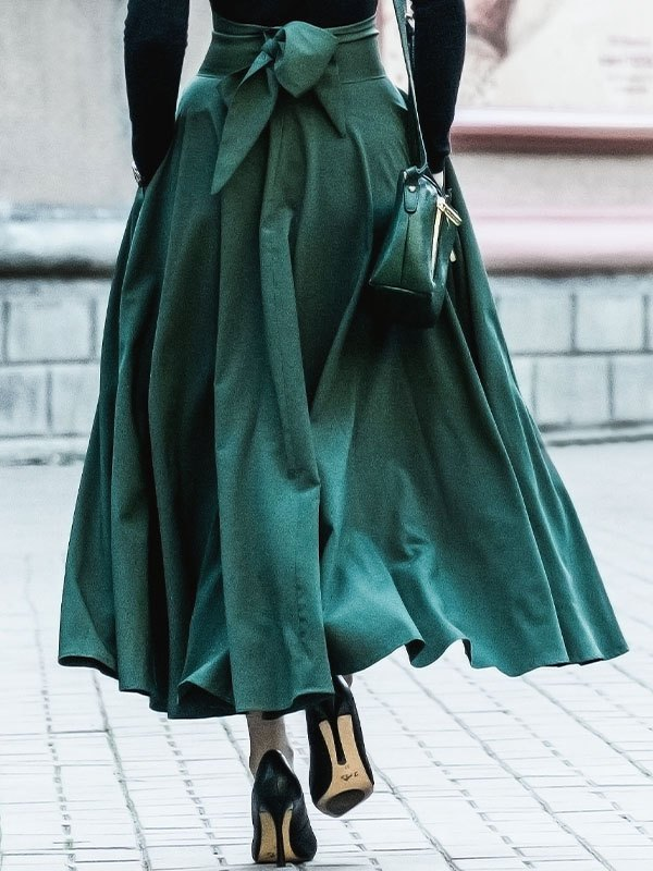 Vintage Swing Maxi Skirt - Green M