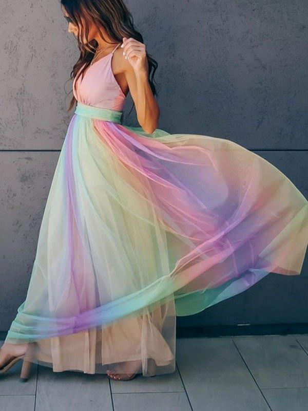 Mesh Paneled Rainbow Maxi Dress - Pink XL