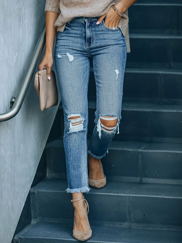 Washed Cropped Ripped Jeans - Blue XL
