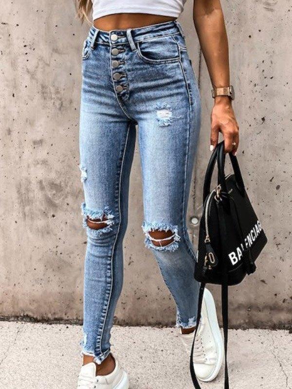 High Waist Stretch Ripped Jeans - Blue 3XL