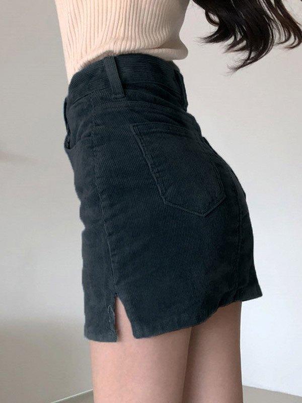 Vintage Corduroy Mini Skirt - Black M