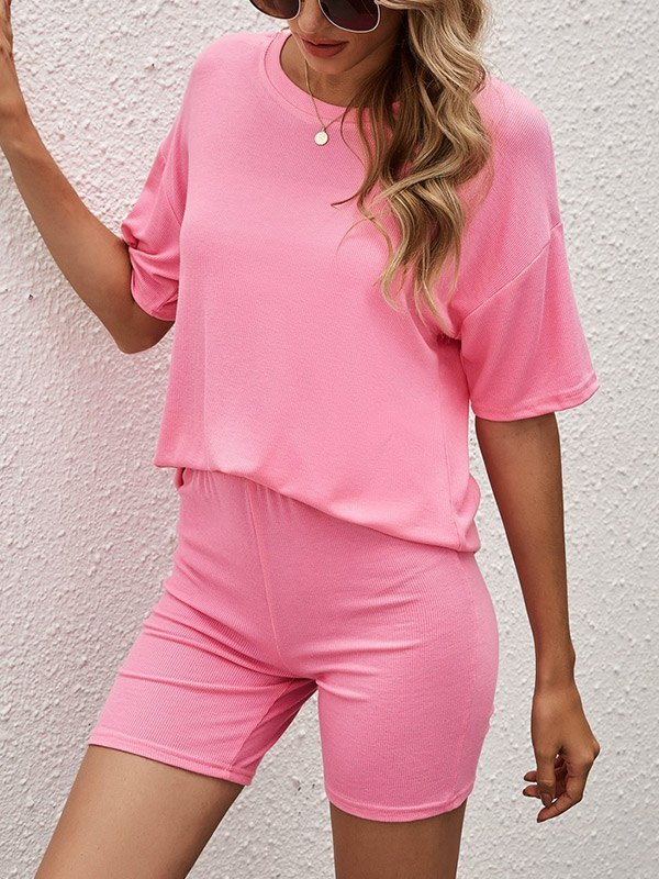 Solid Cozy Shorts Lounge Set - Pink S
