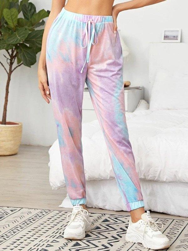 Tie-Dye Pants Lounge Set - Pink XS