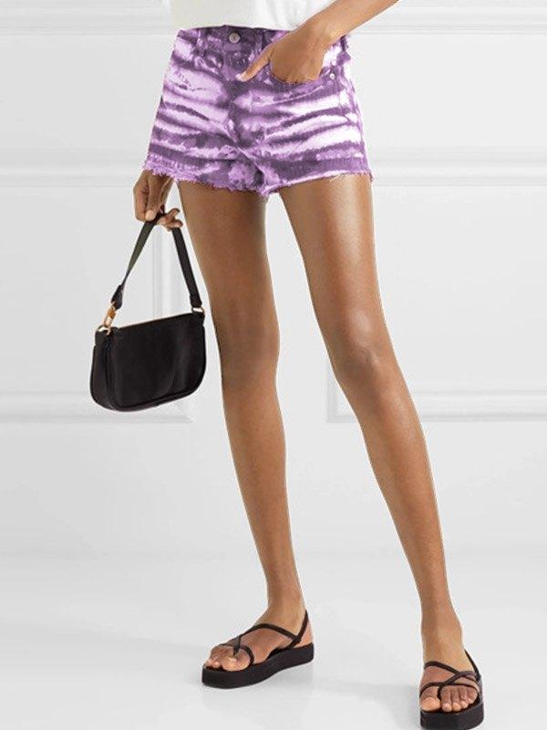 High Waist Dyed Denim Shorts - Purple S