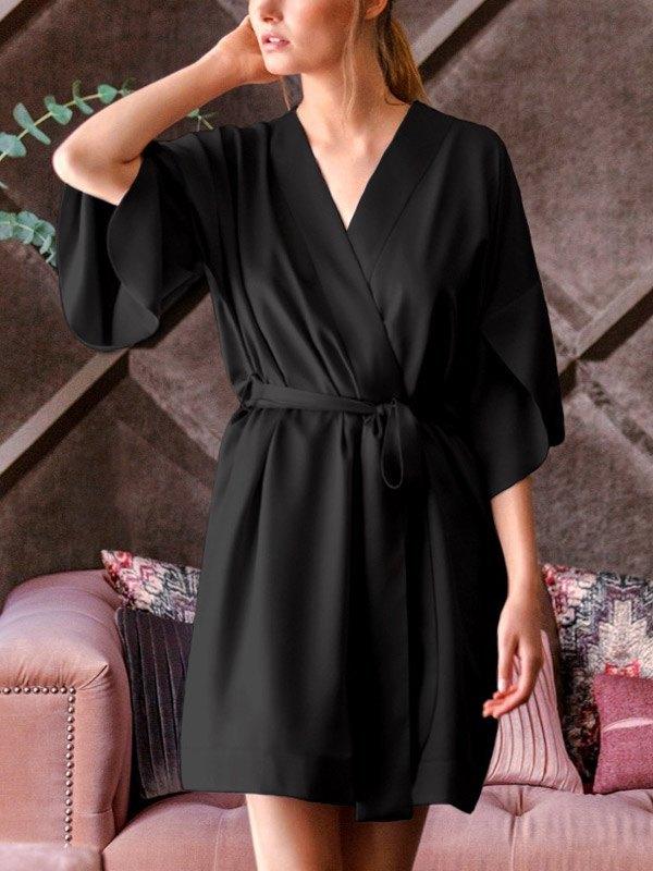 V Neck Satin Pajama Robe - Black S