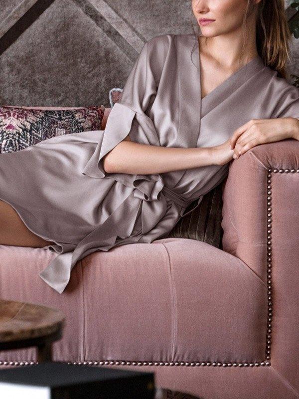 V Neck Satin Pajama Robe - Purple S