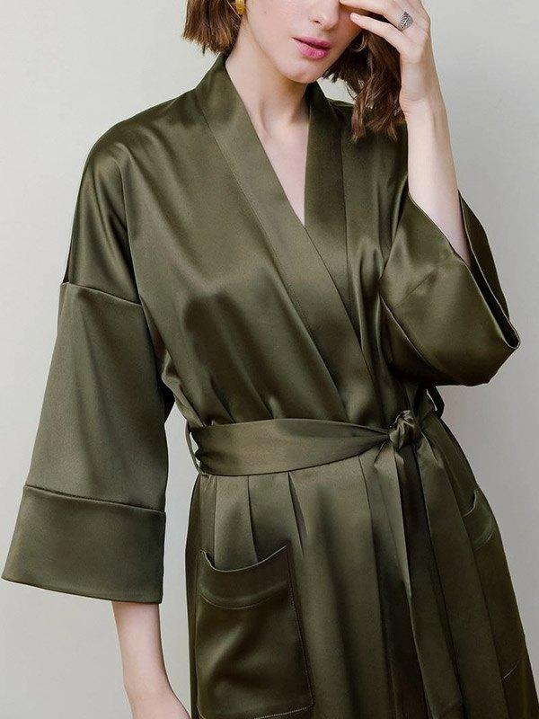 Belted Satin Pajama Robe - Green S