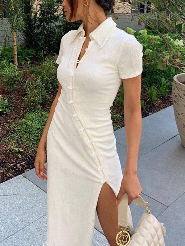 Polo Neck Buttoned Maxi Dress - White S