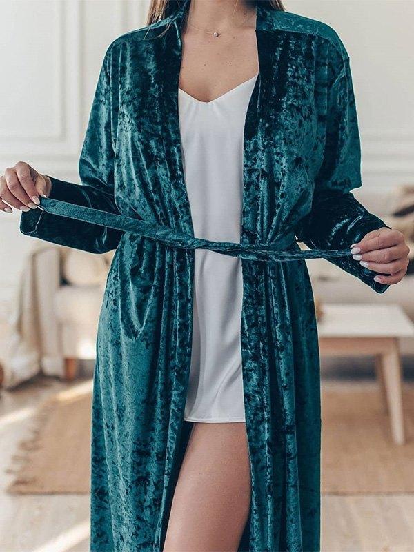 Longline Velvet Lounge Robe - Green S