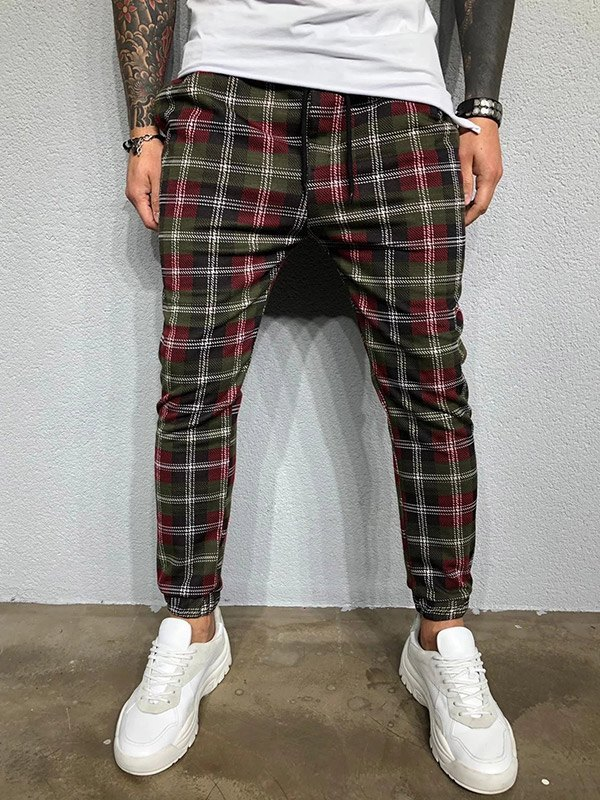 Pantalon fuselé à carreaux pour hommes - Noir L