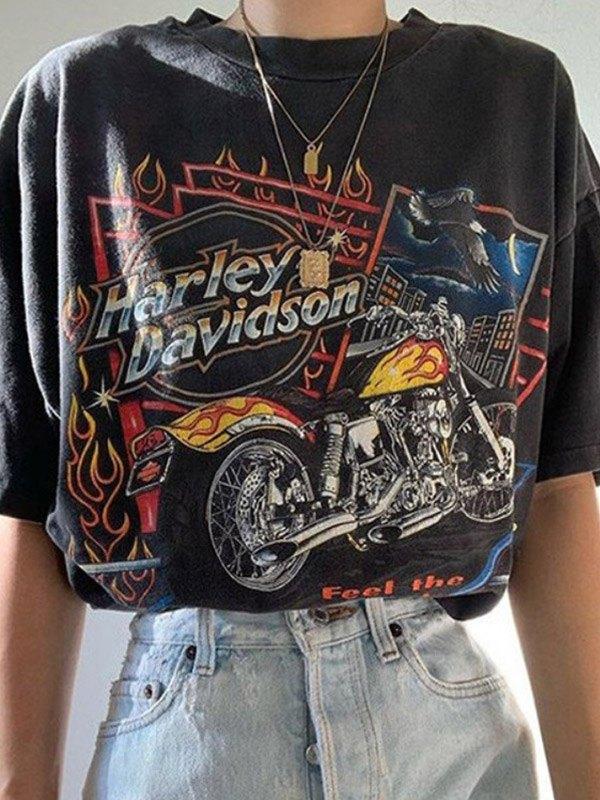 Savage Motorcycle Graphic Tee - Black L