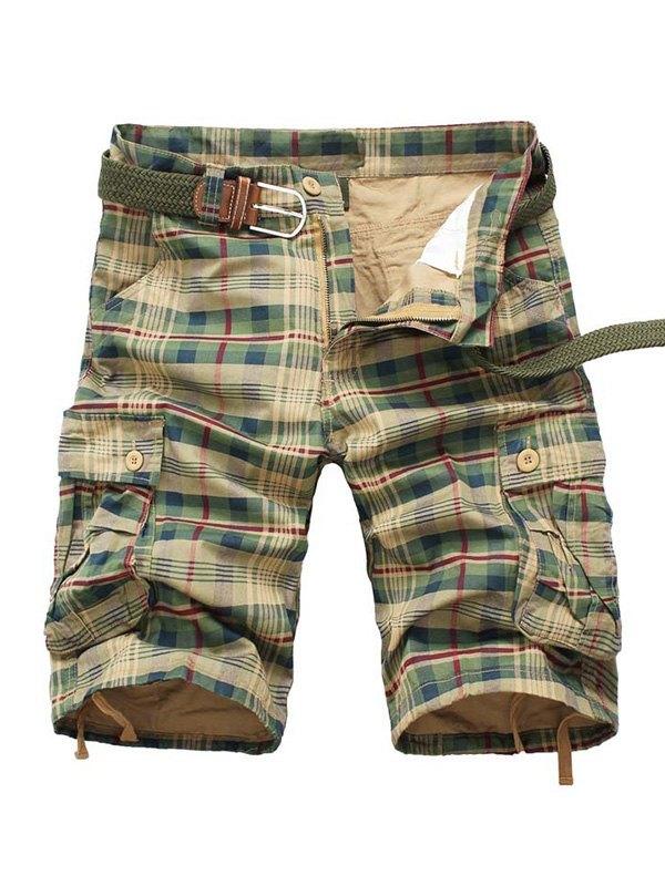 Men's Plaid Cargo Shorts - Khaki L