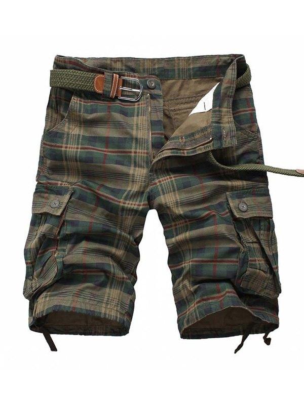 Men's Plaid Cargo Shorts - Chive L