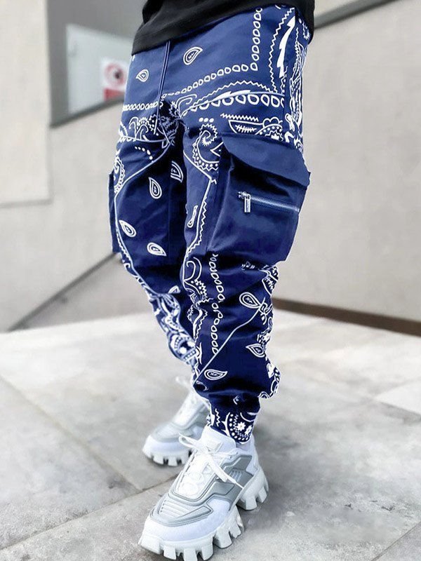 Men's Paisley Print Tapered Pants -