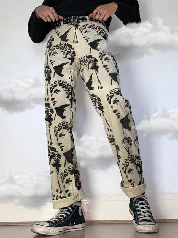 Men's Portrait Print Straight Leg Jeans - White XL