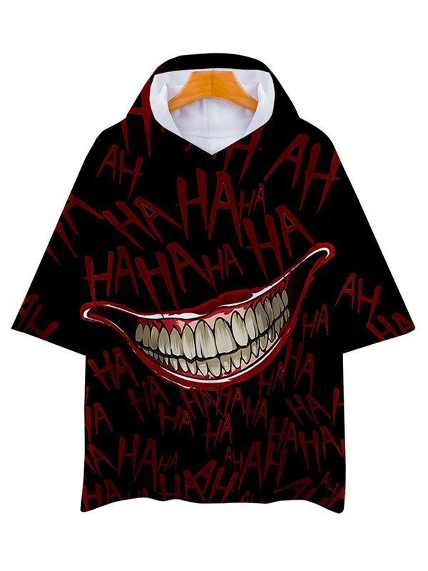 Men's Laugh Graphic Hooded Tee - Black L