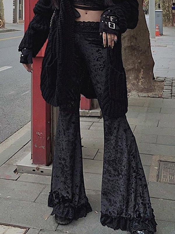 Lace Paneled Velvet Flare Pants - Black M