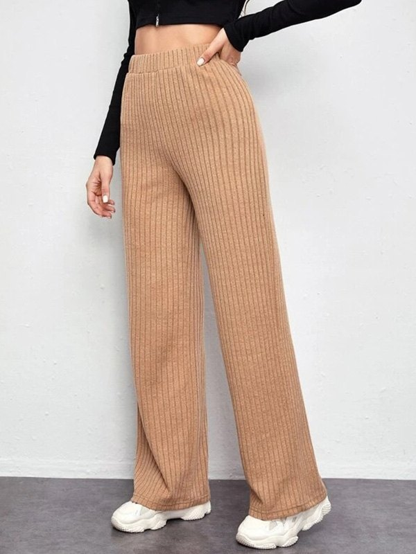 High Waist Knitted Straight Pants - Apricot S