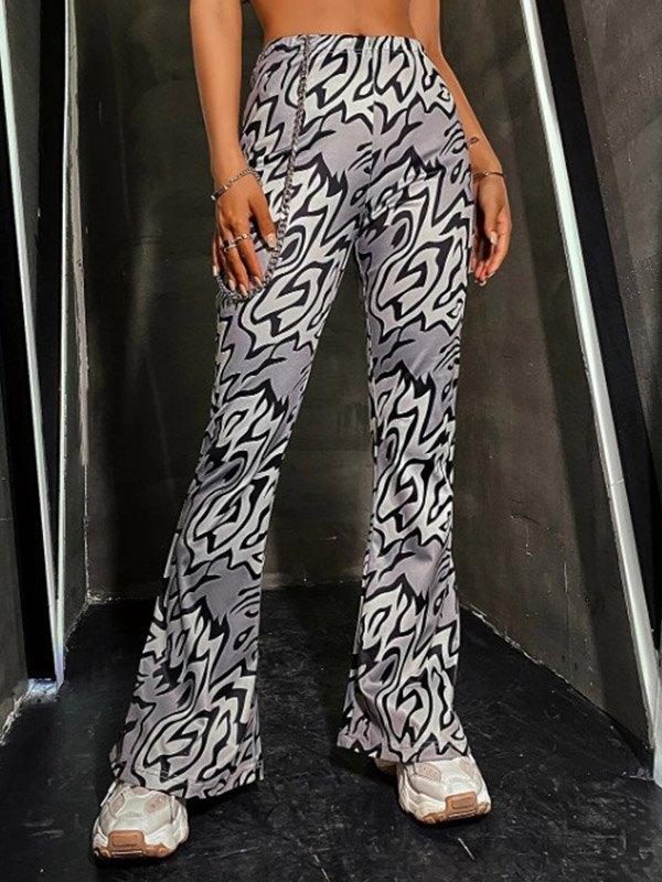 Printed Mid Waist Flare Pants - Black M