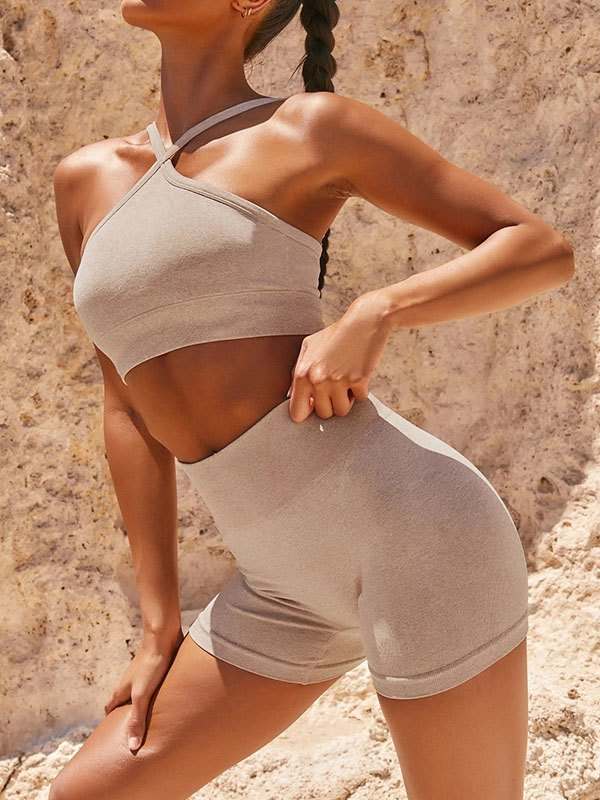 Fitted Shorts Active Set - Apricot S