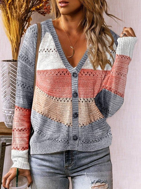 V-Neck Color Block Stripe Sweater -