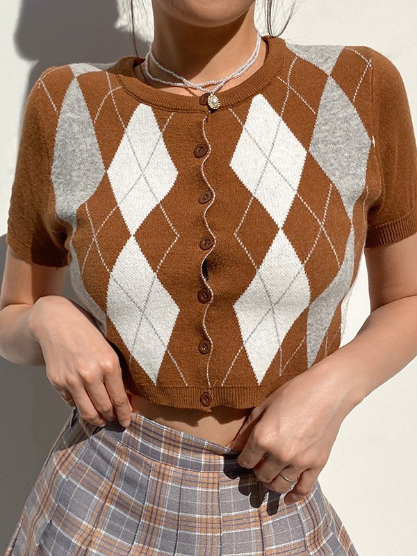 Short Sleeve Argyle Cropped Cardigan - Coconut Brown L