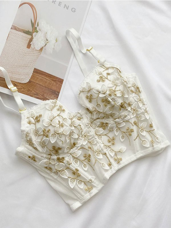Vintage Lace Embroidery Bustier - White S