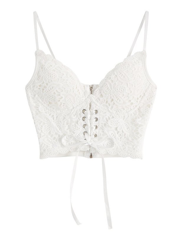 Front Tie Lace Bustier - White S