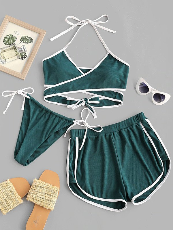 Lace Up Ribbed Three-piece Swimsuit - Green S