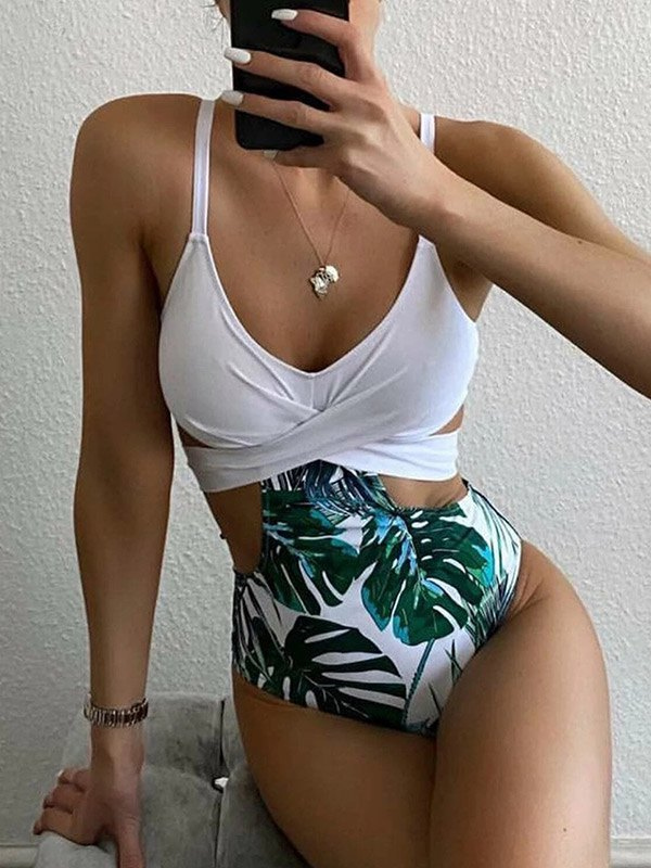 Cross Over Printed One-Piece Swimsuit - White M