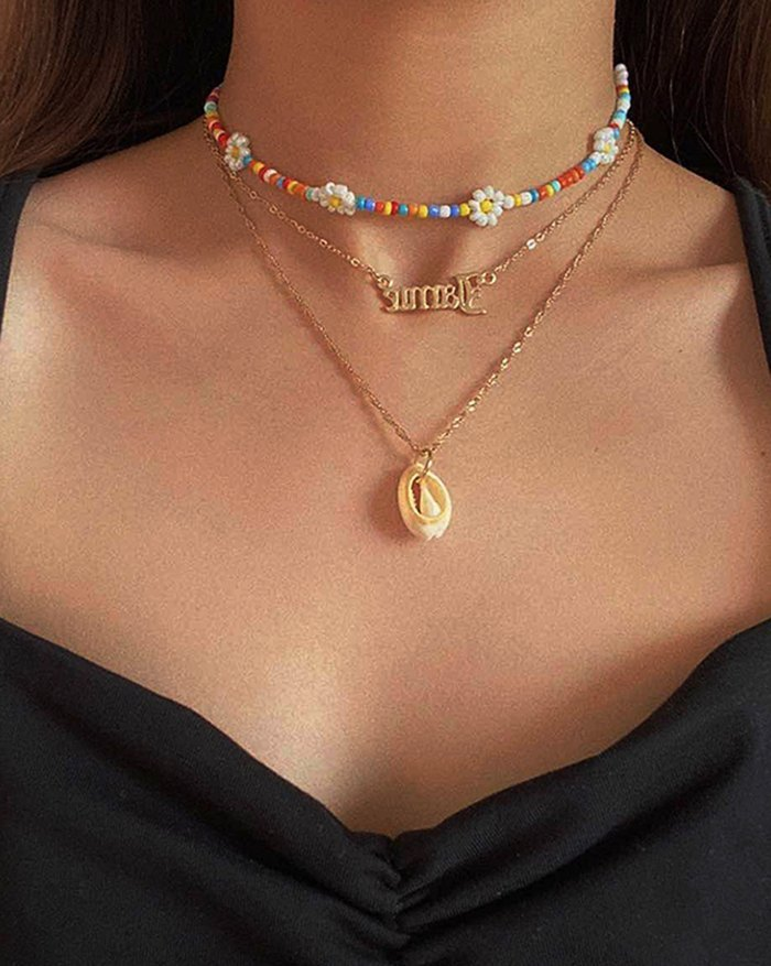 Shell Flower Necklace - Golden ONE SIZE