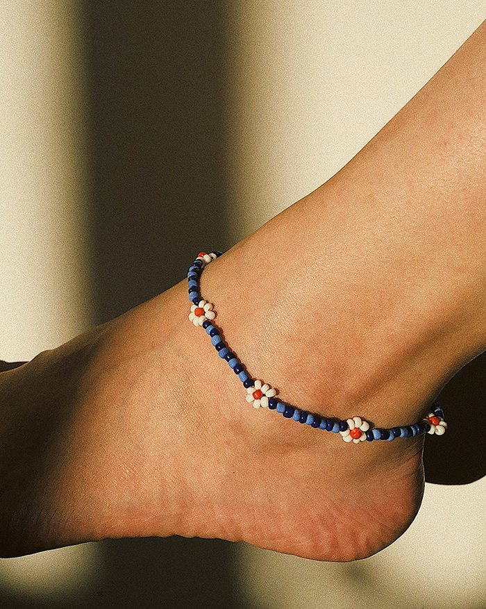 Vacation Daisy Anklet - Blue ONE SIZE