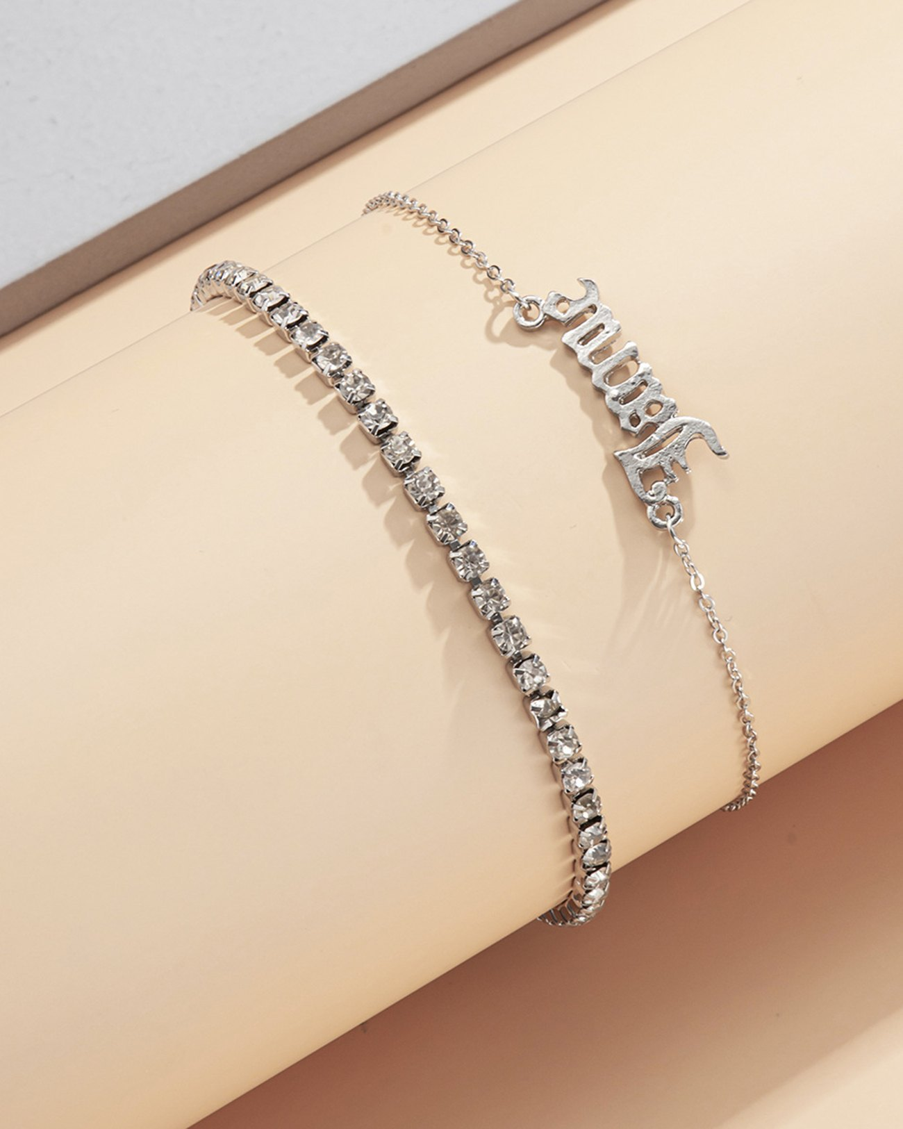 Slogan Pendant Anklet - Silver ONE SIZE