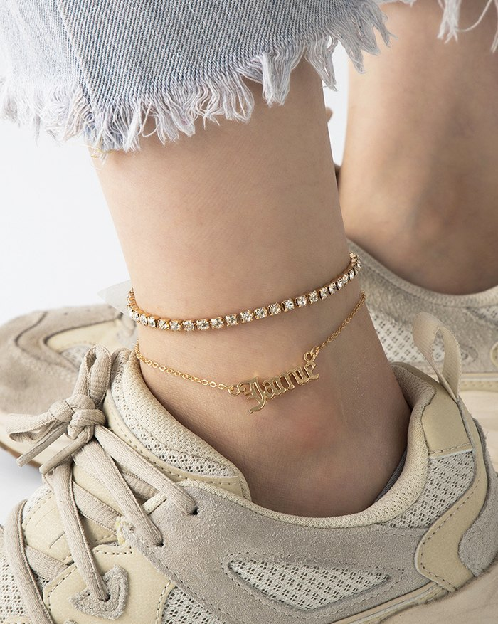 Slogan Pendant Anklet - Golden ONE SIZE