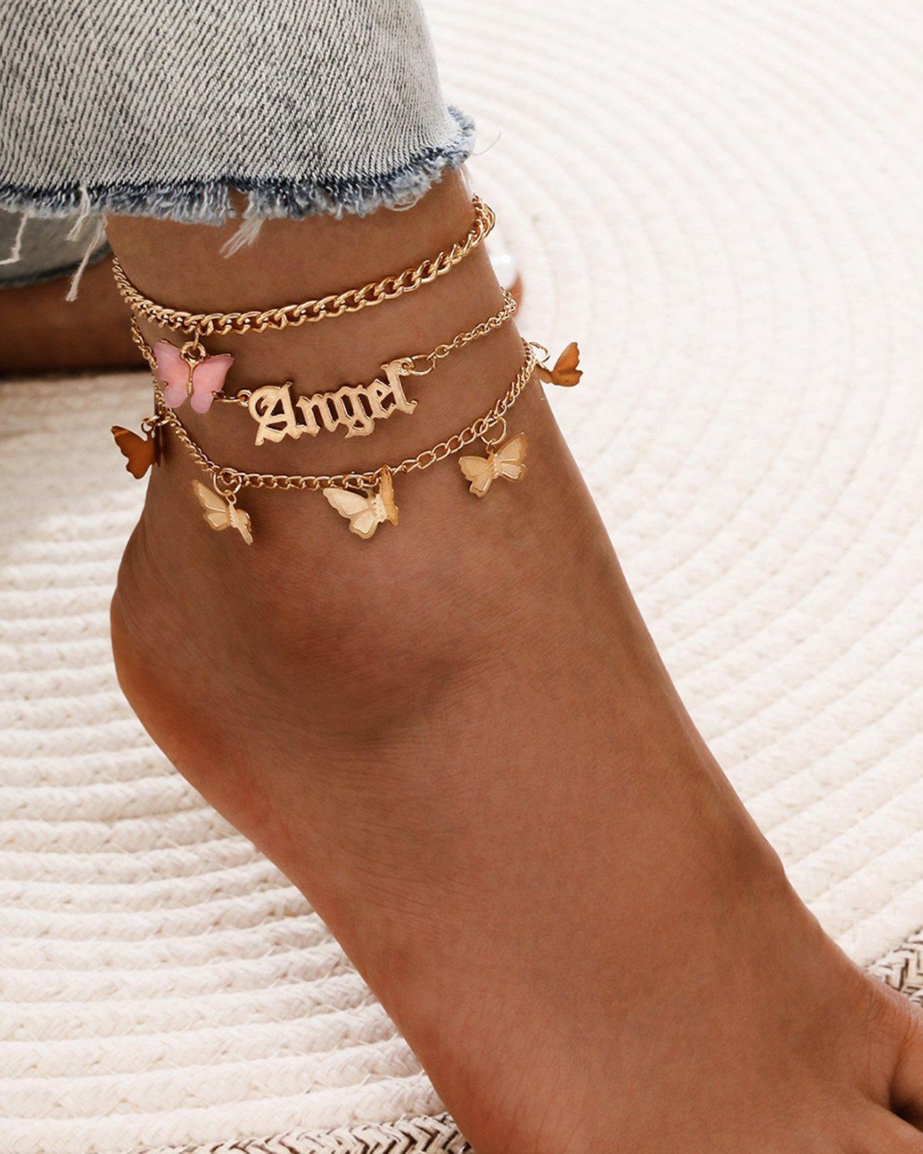 3Pcs Butterfly Decor Anklet - Golden ONE SIZE