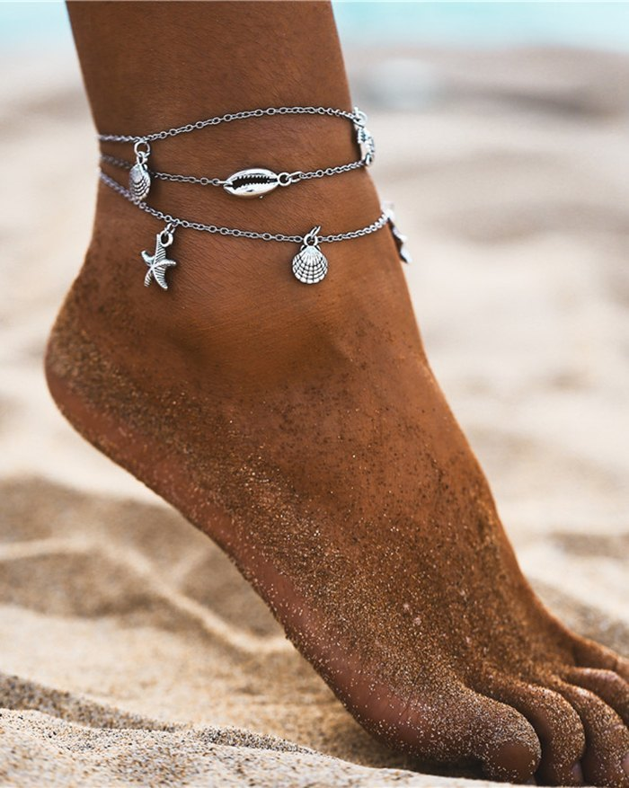 Beach Starfish Shell Anklet - Silver ONE SIZE