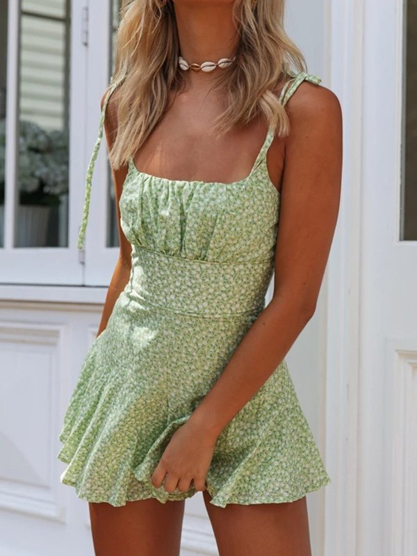 Ruched Bust Print Romper - Green M