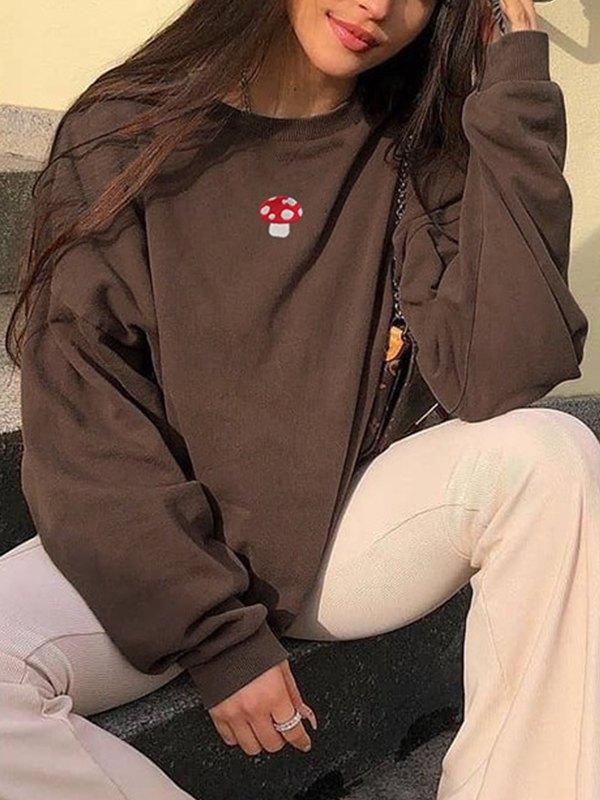 Mushroom Embroidery Drop Shoulder Sweatshirt - Brown M
