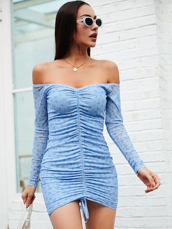 Robe courte à imprimé floral froncé sur le devant - Bleu L