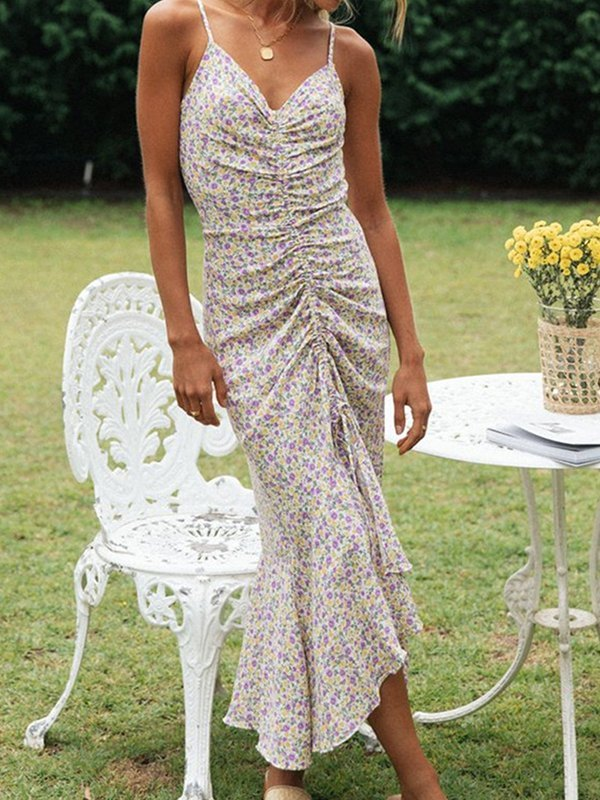Drawstring Front Floral Cami Dress - Floral Print XL
