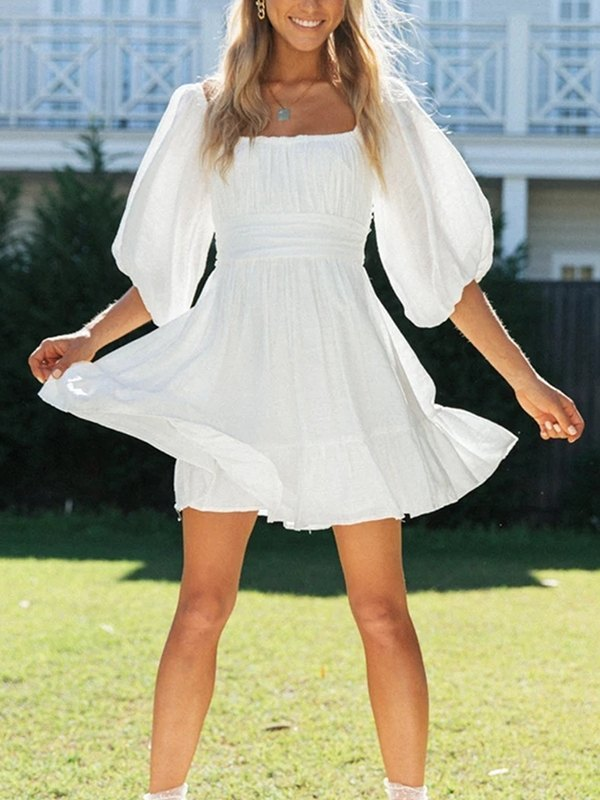 Square Neck Puff Sleeves Dress - White M