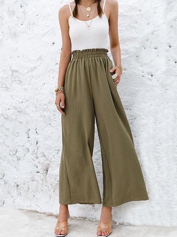 Solid Wide Leg Pants - Green L