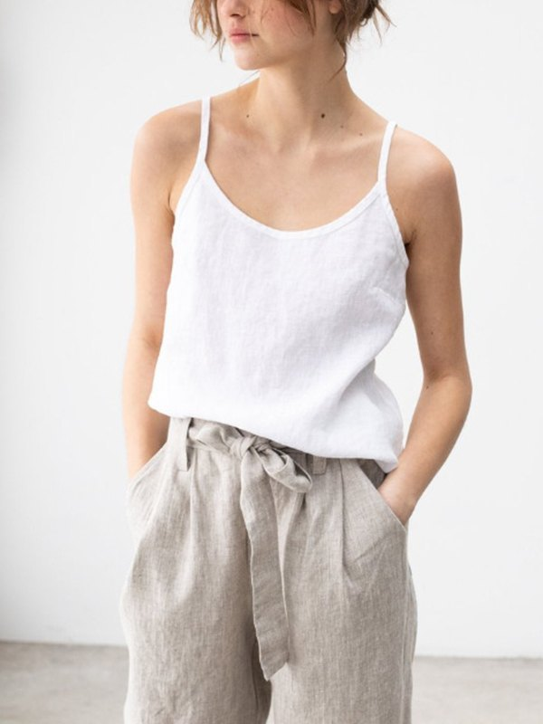 Solid Linen Cami Top - White M