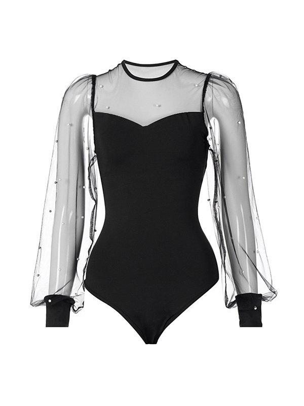 Pearl Beaded Mesh Sleeve Yoke Bodysuit - Black L