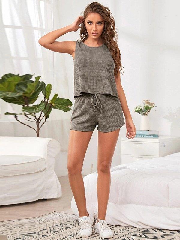Waffle Knit Tank Top & Drawstring Shorts Pajama Set - Gray L