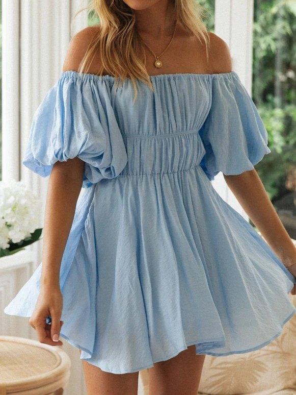 Robe à épaules dénudées à manches lanterne - Bleu XL