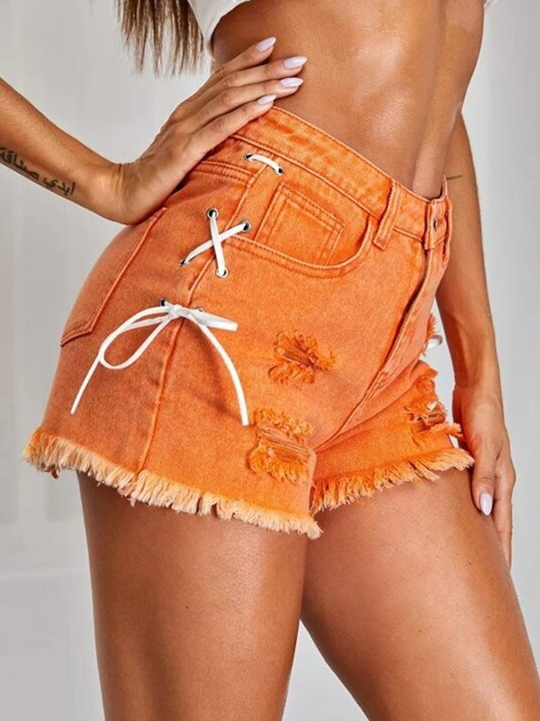 Side Tie Distressed Denim Shorts - Orange XS